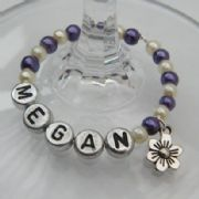 Daisy Flower Personalised Wine Glass Charm - Full Bead Style